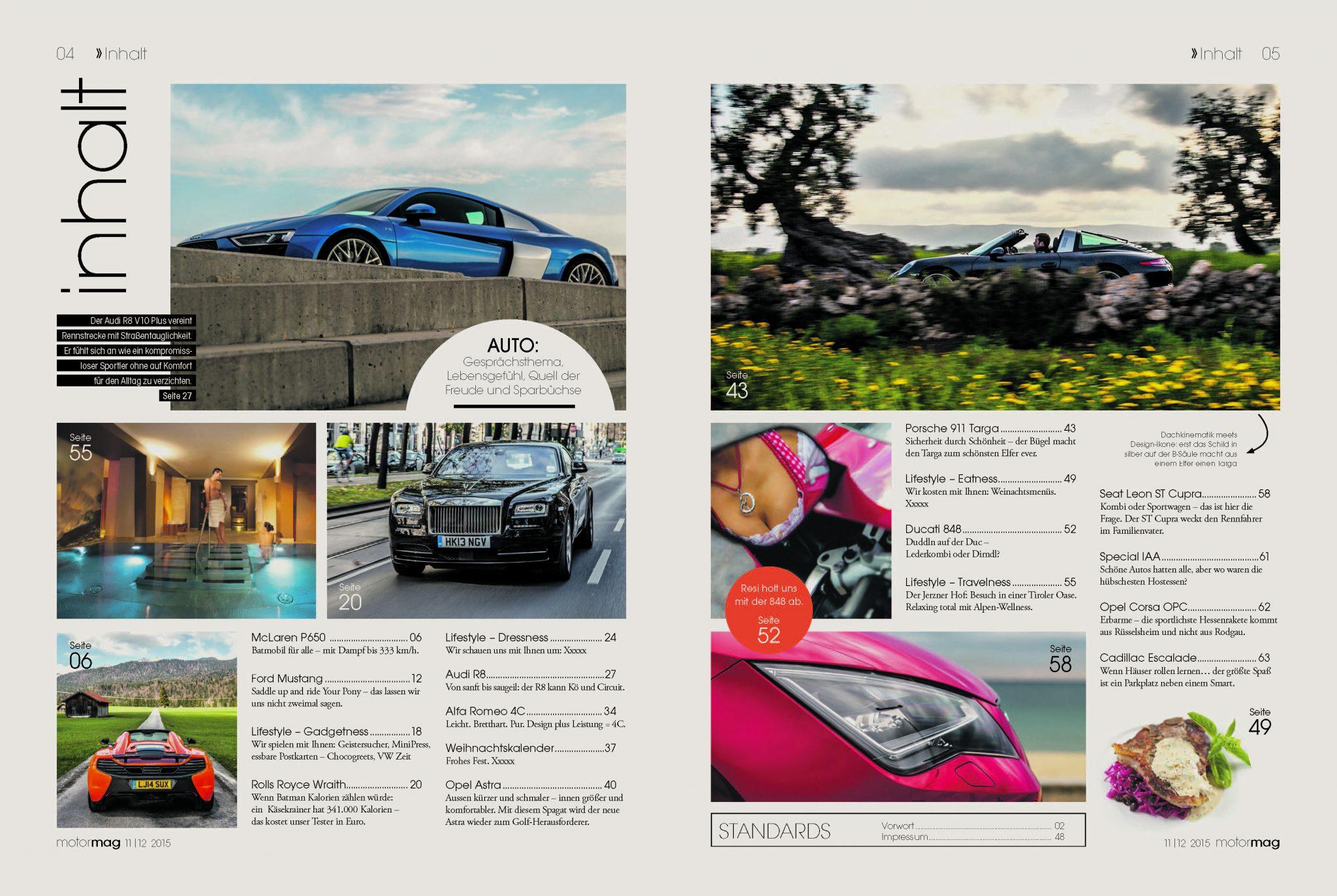 Der MotorMag Inhalt Ausgabe 01 im Überblick